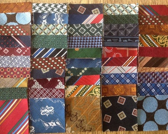 "50 Vintage 3"" tie pieces for Crazy Quilt, String Piecing, Improv Modern Quilts or Craft Project"