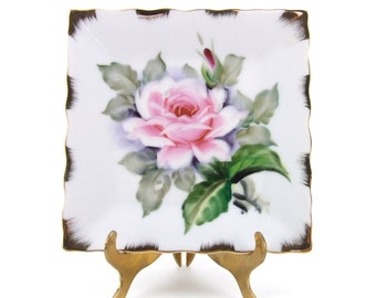 Lefton China Square Plate Procelain Trinket Hand Painted Rose Gold Trim