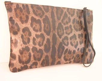 Leopard clutch. Animal Print Clutch. Original Print.