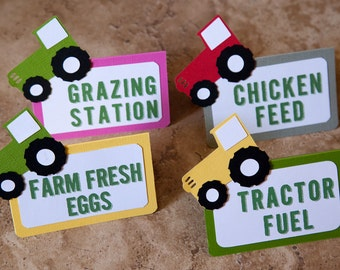 Tractor Themed Baby Shower Food Tents - Boy or Girl