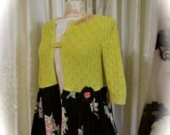 Black Mustard Sweater, eco refashion recreated sweater jacket, ruffle skirt peplum black mustard sweater coat MEDIUM