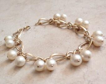 Cha Cha Bracelet Gold Filled Natural Pearls 7mm 12K GF Vintage 050216RV
