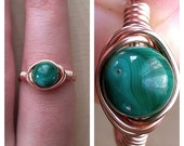 30% OFF SALE Wire Wrapped Malachite Ring Size 9