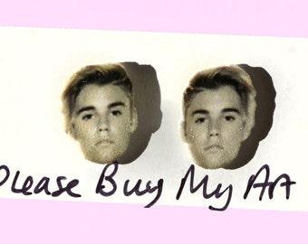 Justin Bieber Black and White Stud Earrings 2015