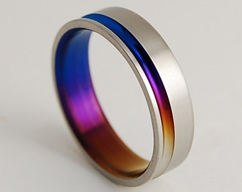 Wedding Band , Titanium Ring , Promise Ring , Titanium Wedding Band , The Cosmos in Bronze, Mystic Purple and Nightfall Blue