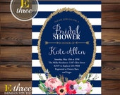 Modern Bridal Shower Invitations - Navy, Gold, and Pink Bridal Shower Invite - Stripes, Flowers and Arrows - Gold Glitter #1009