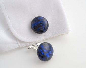 Blue glass cufflinks, sapphire swirl fused glass cuff links, cobalt blue