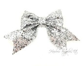 Silver Cheer Glitter Bows 3 inch - Cheer Glitter Bows 3 inch - Glitter Bow, Glitter Cheer Bow, Glitter Hair, Glitter Hair Bow, Cheer Bow