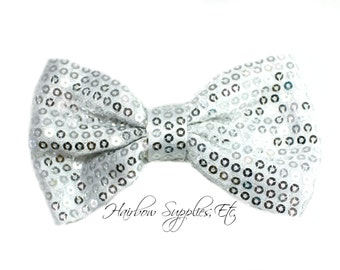 Silver Sequin Basic Bow 4 inch - Silver Bow, Silver Hair Bow, Silver Bow Tie, Silver Sequin Bow Headband, Silver Sequin Bow Tie