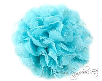 Aqua Petite Lace Chiffon Flowers 3.5 inch - Aqua Shabby Flowers, Aqua Fabric Flower, Aqua Chiffon Flower, Aqua Flowers for hair, Aqua Flower