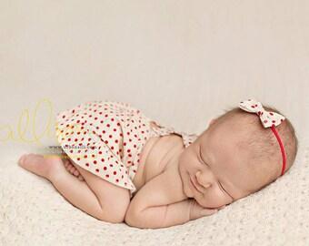 newborn girl SKIRT set (Harper) - photography prop - cream, red, polka dots, ruffles