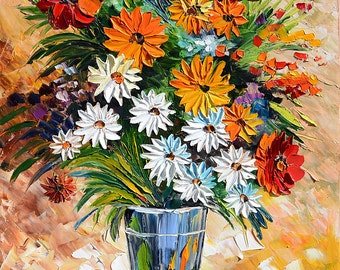 ORIGINAL Painting Oil painting Impasto painting colorful Palette Knife painting Flowers Vase Blue Texture Home decor wall ART by Marchella