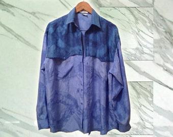 Vintage 90s Boho Surfer Blue Silk Men's Tie Dye Upcycled Long Sleeve Shirt size Large