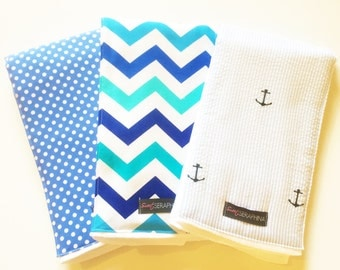 Monogrammed Burp Cloth Gift Set for Boy - Seersucker Anchors - Nautical Boy Anchor - Baby Boy Gift Set- Nautical Chevron Anchors Seersucker