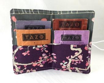 Tea Wallet - Tea Bag Wallet Tea Bag Case Tea Bag Holder Tea Holder Tea Bag Cozy Tea Bag Organizer Art Gallery Enchanted Leaves Plum Purple