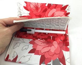 Duplicate Checkbook Cover Register Duplicate Checkbook Reigster Fabric Checkbook Cover - Riley Blake Desert Bloom Main in Red