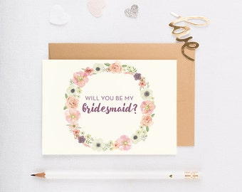 Will You Be My Bridesmaid Card, Wedding party card, bridesmaid invitation, bridal party, personalized bridesmaid card - RBM-01