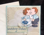 Wedding or engagement card with vintage lace