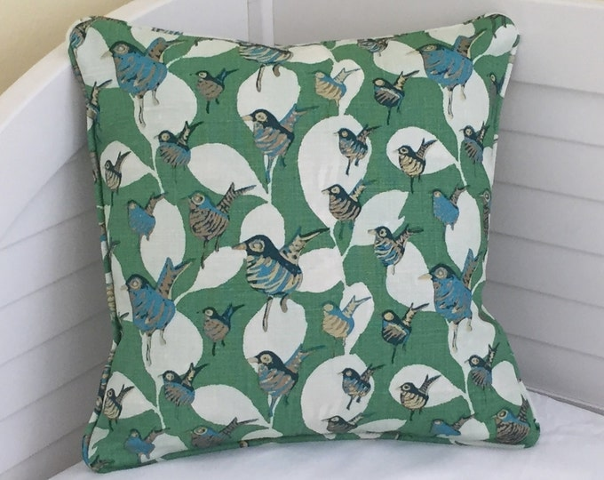 Lulu DK Dancers in Kelly Green Designer Pillow Cover with Piping- Design on Both Sides - Square, Euro and Lumbar Sizes