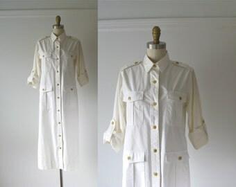 vintage safari dress / white cotton dress