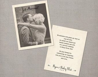 "Wedding Announcement / Vintage Wedding Announcement Cards / Elopment announcement / Just Married / Vintage Annoucement - the ""Bailey"""