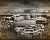 Digital Fine Art Painterly Photograph of a Junk Yard with Vintage Auto Bodies No.FA1 A Fine Art Landscape Photograph