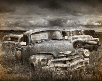 Digital Fine Art Painterly Photograph of a Junk Yard with Vintage Auto Bodies No.FA1 A Fine Art Landscape Photograph