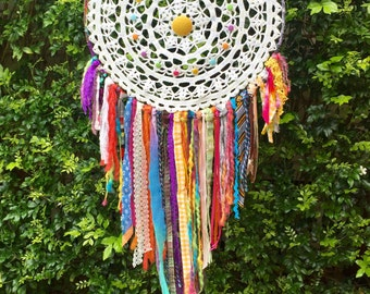 Giant Doily Boho Rainbow Dreamcatcher