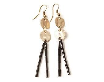 Unique Earrings, Modern Earrings, Black & Gold Earrings, Abstact Jewelry
