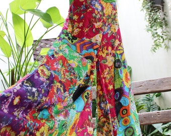 PATCHWORK Floral Printed Cotton Boho Gypsy Wide Leg Pants - OMP1610-22