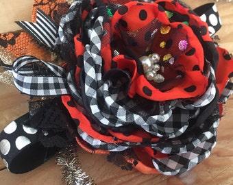 Spooky headband, halloween headband; cozette couture, halloween bow, halloween clip