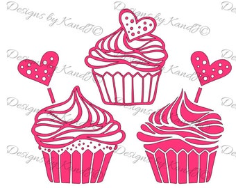 Valentines Day SVG Cupcakes SVG Set of 3 cupcakes svg  Digital cut file  SVG- Instant Download