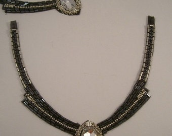 ON SALE Gunmetal and Crystal Beaded Neckline Applique--One Piece
