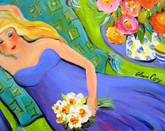 Blonde on Chaise 20 x 30 Original Painting Canvas art Woman portrait Art by Elaine Cory