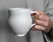 Cross Hatch Pottery Mug - White - Coffee Cup
