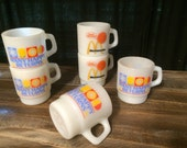 McDonald's Good Morning Many Happy Returns Milk Glass Lunch Serving Mugs Anchor Hocking and Fireking Lot Set Of Six 6