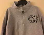 Personalized, Monogrammed Quarter Zip Sweat Shirt, Quarter Zip Pullover, Available in Small-XL