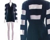 Vintage 90s Black Double Breasted Blazer En Vogue Jacket Cutouts Sexy Sheer See Through Designer Jacket Coat Small Medium
