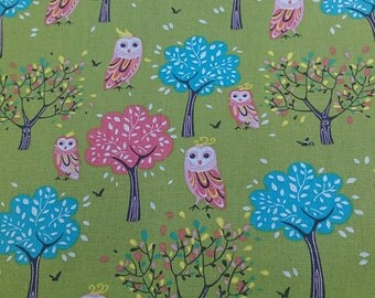"""Elegant owl - 1 yard - cotton linen - 2 colors to choose - owl fabric,Check out with code """"5YEAR"""" to save 20% off"""
