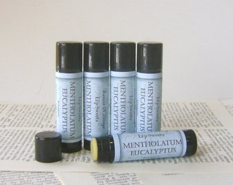 Mentholatum and Eucalyptus Lip Balm, Natural Beeswax Balm with Cocoa and Shea Butter