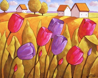 Tulip Garden Art Print, Country Floral Folk Art Landscape, 11x14 Easter Pink Purple Spring Flower Blossoms, by Cathy Horvath Giclee Artwork