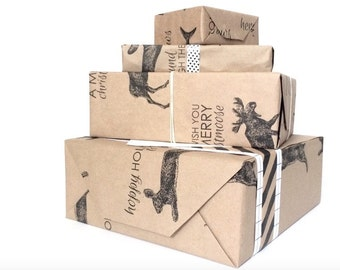 brown kraft wrapping parcel paper: wrapping paper, gift wrap, christmas wrap, holiday wrap, punny animals