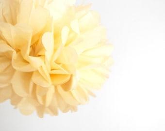 paper pom pom: ivory tissue paper pom pom party decor, nursery decor, cake smash