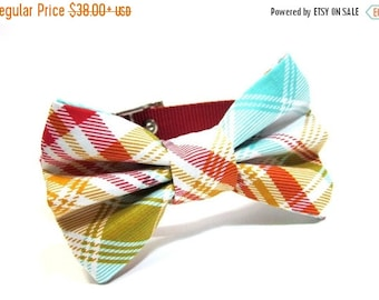 ON SALE Dog Bowtie...Bow Tie Dog Collar...Rusty Red Plaid