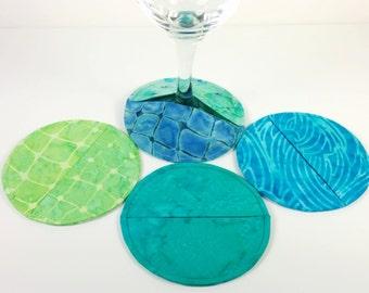 Coasters, Slipper Coasters, Set of 4 Ocean Print Batik Cotton Stemware Slipper Coasters