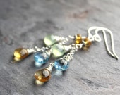 Multi Gemstone Earrings Blue Topaz Citrine Prehite Cascade Sterling Silver Dangle Earrings
