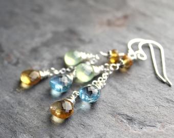 Multi Gemstone Earrings Blue Topaz Citrine Prehite Cascade Sterling Silver Dangle Earrings