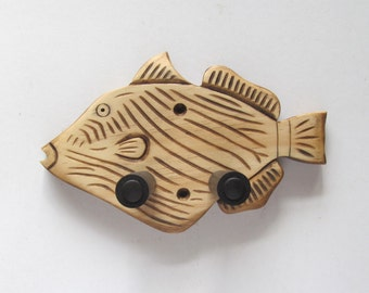 Unique hand carved ukulele wall mount hanger, trigger fish.