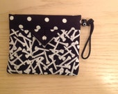 """Black and White Golfer's Tee Bag - Quilted Fabric Mini Snap Bag Pouch 5"""" x 4"""""""