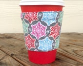 Snowflakes Peppermint Stripes Coffee Cozy Reversible Cup Cozy To Go Christmas Stocking Stuffer